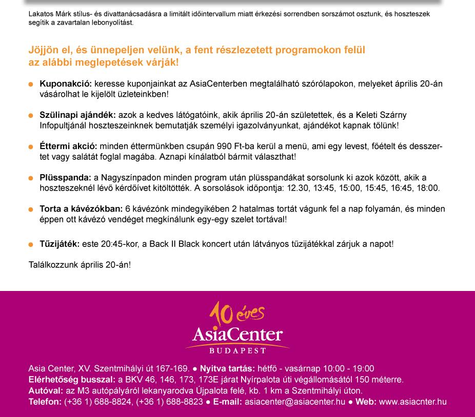 AsiaCenter 10 éves