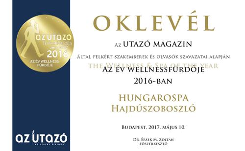 A Hungarospa az év wellnessfürdője lett 2016-ban